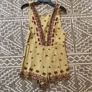 Free People Green Paisley Romper Size 0